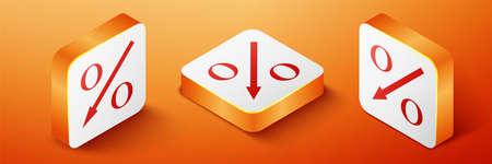 Isometric Percent down arrow icon isolated on orange background. Decreasing percentage sign. Orange square button. Vector 向量圖像