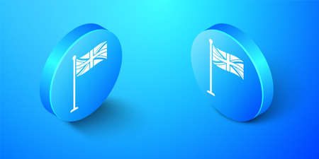 Isometric Flag of Great Britain on flagpole icon isolated on blue background. UK flag sign. Official United Kingdom flag sign. British symbol. Blue circle button. Vector Illustration