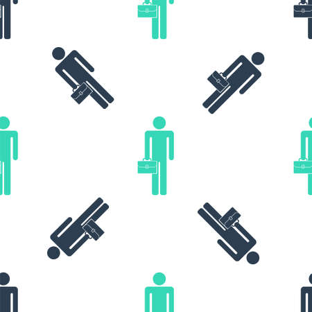 Green Businessman man with briefcase icon isolated seamless pattern on white background. Vector