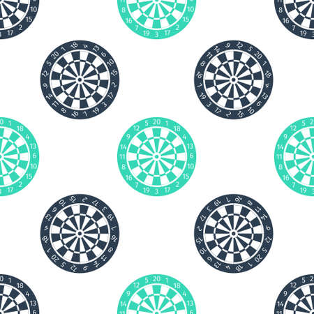 Green Classic darts board with twenty black and white sectors icon isolated seamless pattern on white background. Dart board sign. Dartboard sign. Game concept. Vector Ilustração