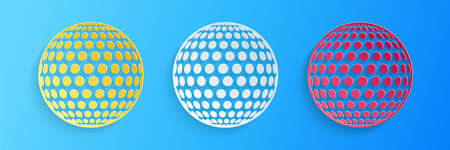 Paper cut Golf icon isolated on blue background. Paper art style. Vector