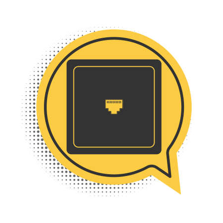 Black internet socket sign. Network port - cable socket icon isolated on white background. LAN port icon. Local area connector icon. Yellow speech bubble symbol. Vector
