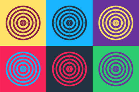 Pop art Target sport for shooting competition icon isolated on color background. Clean target with numbers for shooting range or pistol shooting. Vector Ilustração