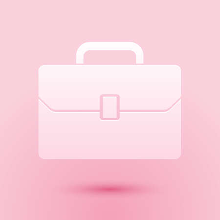 Paper cut Briefcase icon isolated on pink background. Business case sign. Business portfolio. Paper art style. Vector