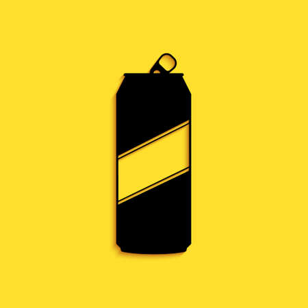 Black Aluminum can icon isolated on yellow background. Long shadow style. Vector