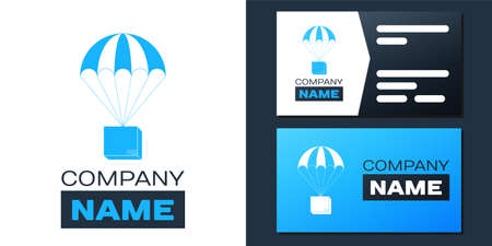 Box flying on parachute icon isolated on white background. Parcel with parachute for shipping. Delivery service, air shipping concept, bonus. design template element. Vector