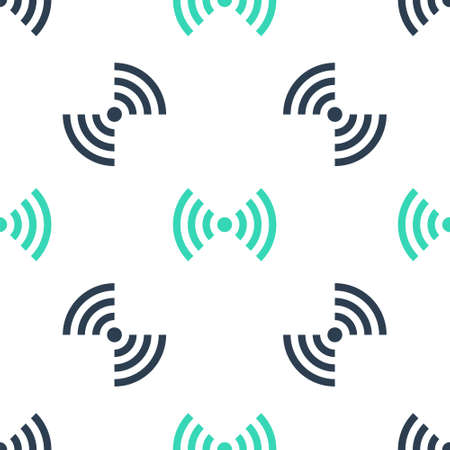 Green WiFi wireless internet network symbol icon isolated seamless pattern on white background. Vector
