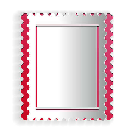 Paper cut Postal stamp icon isolated on white background. Paper art style. Vector 矢量图像