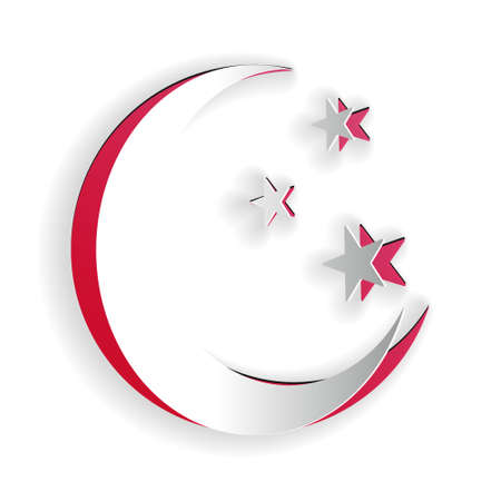 Paper cut Moon and stars icon isolated on white background. Paper art style. Vector
