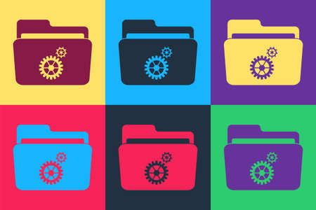 Pop art Folder settings with gears icon isolated on color background. Concept of software update, transfer protocol, router, teamwork tool management. Vector
