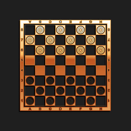Gold Board game of checkers icon isolated on black background. Ancient Intellectual board game. Chess board. White and black chips. Long shadow style. Vector