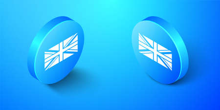Isometric Flag of Great Britain icon isolated on blue background. UK flag sign. Official United Kingdom flag sign. British symbol. Blue circle button. Vector