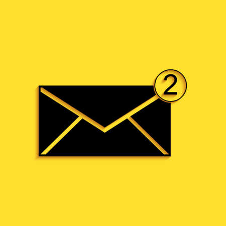 Black Envelope icon isolated on yellow background. Received message concept. New, email incoming message, sms. Mail delivery service. Long shadow style. Vector