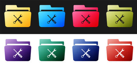 Set Folder and tools or settings icon isolated on black and white background. Folder with wrench and screwdriver sign. Computer technical service. Vector