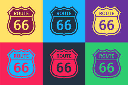 Pop art American road icon isolated on color background. Route sixty six road sign. Vector