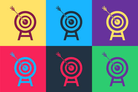 Pop art Target with arrow icon isolated on color background. Dart board sign. Archery board icon. Dartboard sign. Business goal concept. Vector Ilustração