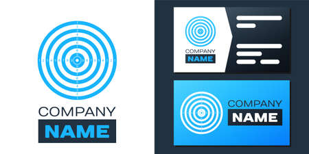 Logotype Target sport for shooting competition icon isolated on white background. Clean target with numbers for shooting range or pistol shooting. Logo design template element. Vector Ilustração
