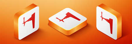 Isometric Beer tap icon isolated on orange background. Orange square button. Vector