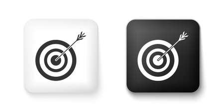 Black and white Target with arrow icon isolated on white background. Dart board sign. Archery board icon. Dartboard sign. Business goal concept. Square button. Vector
