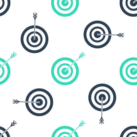 Green Target with arrow icon isolated seamless pattern on white background. Dart board sign. Archery board icon. Dartboard sign. Business goal concept. Vector Ilustração