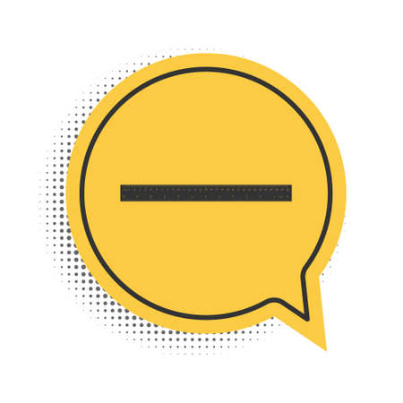 Black Ruler icon isolated on white background. Straightedge symbol. Yellow speech bubble symbol. Vector