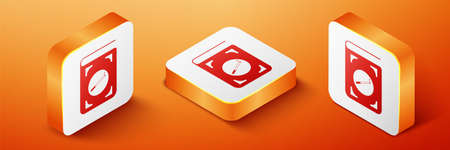 Isometric Book with cigarette icon isolated on orange background. Orange square button. Vector