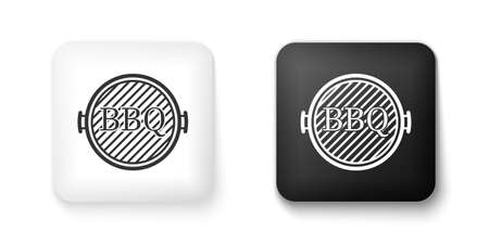 Black and white Barbecue grill icon isolated on white background. Top view of BBQ grill. Square button. Vector Çizim