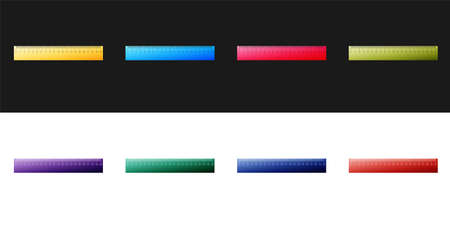 Set Ruler icon isolated on black and white background. Straightedge symbol. Vector