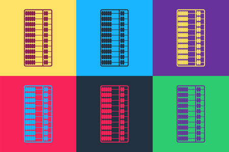 Pop art Abacus icon isolated on color background. Traditional counting frame. Education sign. Mathematics school. Vector
