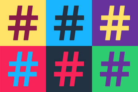 Pop art Hashtag icon isolated on color background. Social media symbol. Modern UI website navigation. Vector