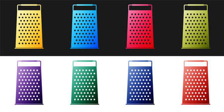 Set Grater icon isolated on black and white background. Kitchen symbol. Vector