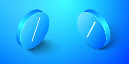 Isometric Pencil with eraser icon isolated on blue background. Education sign. Drawing and educational tools. School office symbol. Blue circle button. Vector 向量圖像