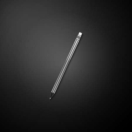 Silver Pencil with eraser icon isolated on black background. Education sign. Drawing and educational tools. School office symbol. Long shadow style. Vector 向量圖像