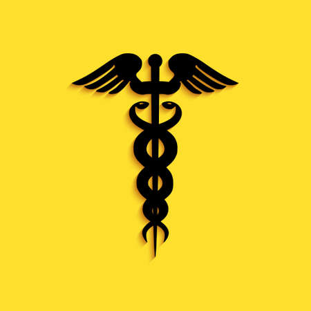 Black Caduceus medical symbol icon isolated on yellow background. Medicine and health care concept. Emblem for drugstore or medicine, pharmacy snake. Long shadow style. Vector Çizim