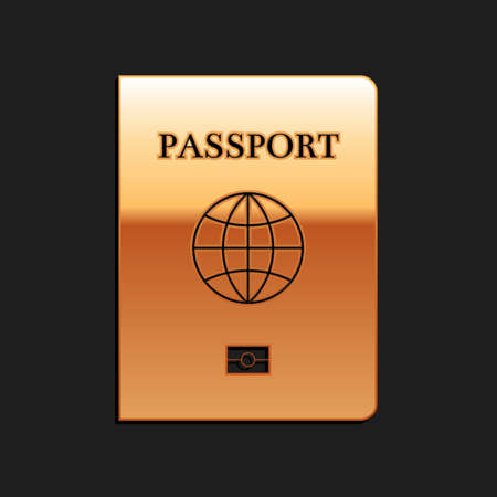 Gold Passport with biometric data icon isolated on black background. Identification Document. Long shadow style. Vector