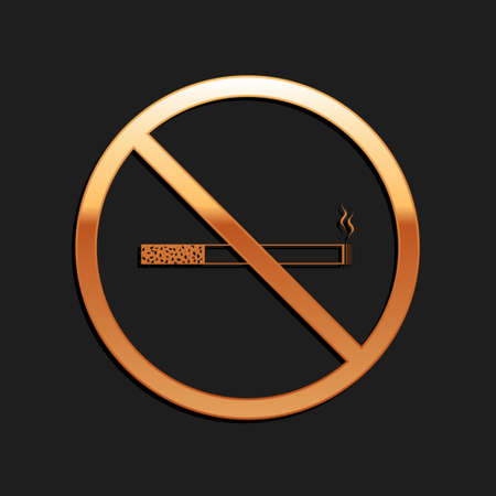 Gold No Smoking icon isolated on black background. Cigarette symbol. Long shadow style. Vector