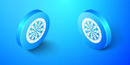 Isometric Classic darts board with twenty black and white sectors icon isolated on blue background. Dart board sign. Dartboard sign. Game concept. Blue circle button. Vector
