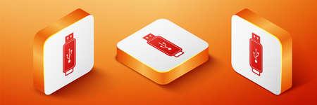 Isometric USB flash drive icon isolated on orange background. Orange square button. Vector