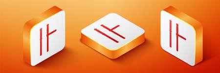 Isometric Police rubber baton icon isolated on orange background. Rubber truncheon. Police Bat. Police equipment. Orange square button. Vector