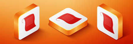 Isometric Paper scroll icon isolated on orange background. Canvas scroll sign. Orange square button. Vector