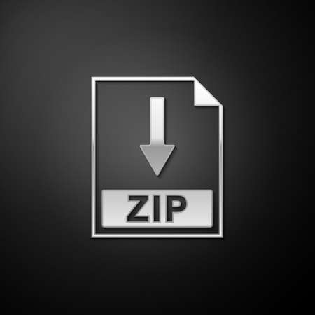 Silver ZIP file document icon. Download ZIP button icon isolated on black background. Long shadow style. Vector