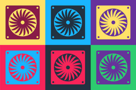 Pop art Computer cooler icon isolated on color background. PC hardware fan. Vector