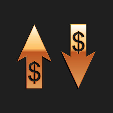 Gold Up and Down arrows with dollar symbol icon isolated on black background. Business concept. Long shadow style. Vector