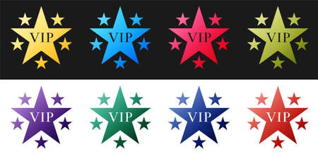 Set Star VIP with circle of stars icon isolated on black and white background. Vector Ilustração Vetorial