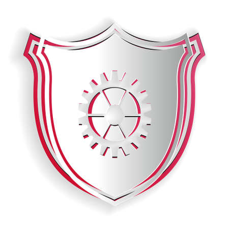 Paper cut Shield with gear icon isolated on white background. Paper art style. Vector