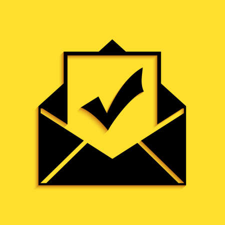 Black Envelope with document and check mark icon isolated on yellow background. Successful email delivery confirmation, successful verification concept. Long shadow style. Vector