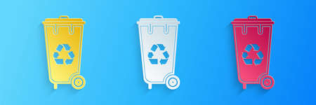 Paper cut Recycle bin with recycle symbol icon isolated on blue background. Trash can icon. Garbage bin sign. Recycle basket icon. Paper art style. Vector