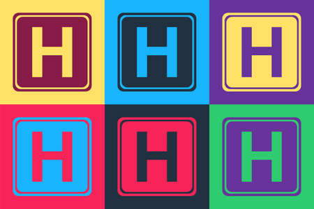 Pop art Hospital sign icon isolated on color background. Vector