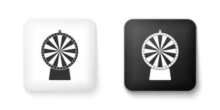 Black and white Lucky wheel icon isolated on white background. Square button. Vector