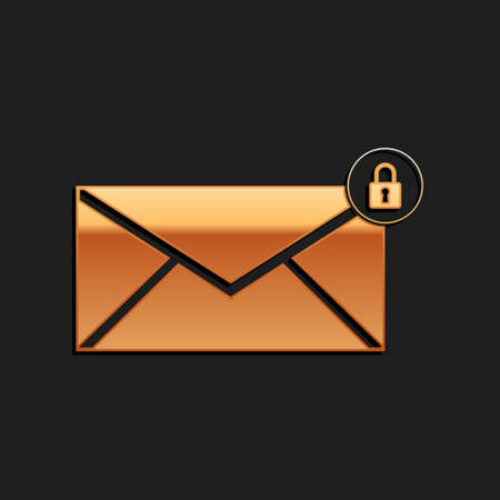 Gold Email message lock password icon isolated on black background. Envelope with padlock. Private mail and security, secure, protection, privacy. Long shadow style. Vector Illusztráció